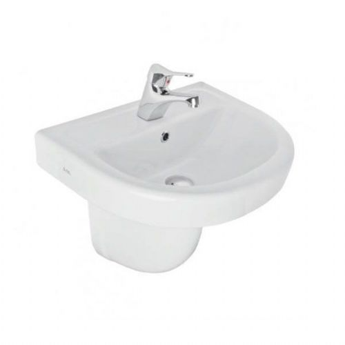 Kartell Ratio Basin - 550mm Wide - Semi Pedestal - 1 Tap Hole - White